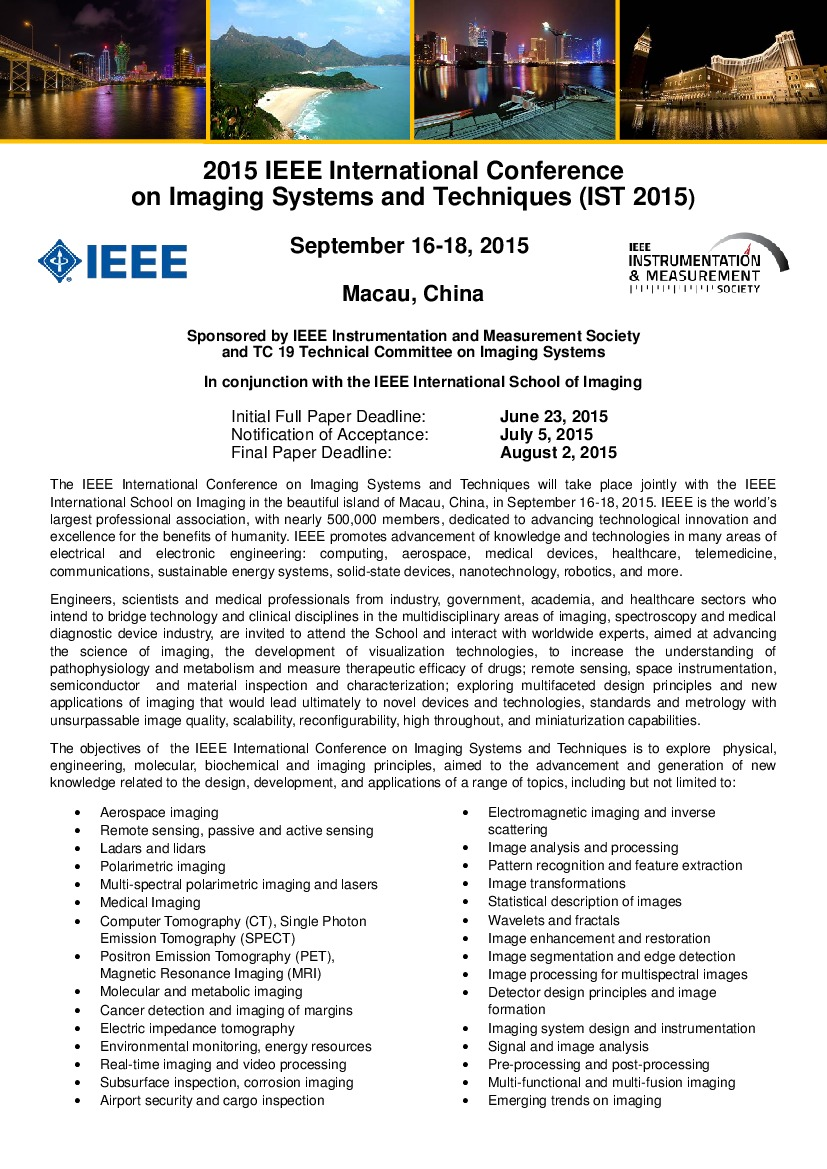 Final Manuscript Instructions | 2015 IEEE Imaging Systems and Techniques